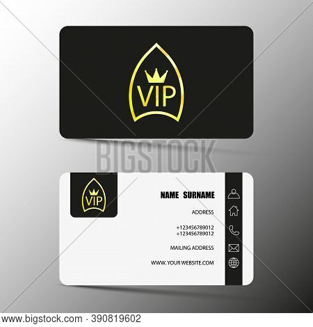 Vip Card Design For Clients, Two Sides, With Name And Surname, Number, Address, Website, Email. Vect