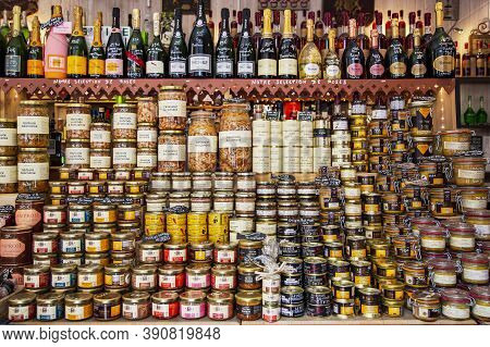 France, Bordeaux, May, 19, 2019 -  Gastronomic Section With A Variety Of Products In A French Store