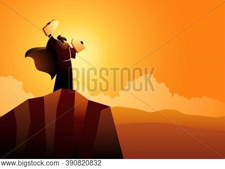 Biblical Vector Illustration Series, Moses And Ten Commandments