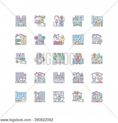 Real Estate Rgb Color Icons Set. Residential Property. House Mortgage. Home For Sale. Suburban Neigh