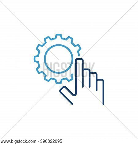 Hand With Cog Wheel Vector Concept Icon Or Logo Element