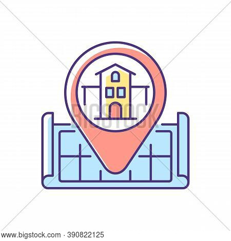 House Location Rgb Color Icon. Pinpoint Home On Map. Gps Marker For Residential Accommodation. Searc