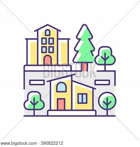 Neighborhood Rgb Color Icon. Downtown District. Suburban Living. Property Types In Metropolis. Skysc
