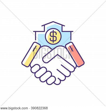 Deal Rgb Color Icon. Commercial Contract. Handshake Of Business Partners. Buying Home. Selling House