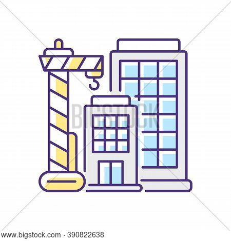 New Building Rgb Color Icon. Condominium Housing. Engineering Project For Home Construction. Tall Hi