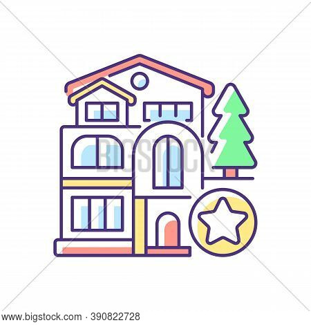 Luxury Home Rgb Color Icon. Mansion For Living. Villa For Dwelling. Premium Residential Property. Re