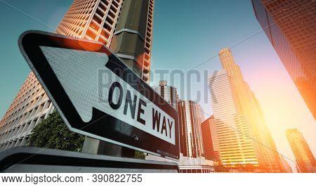 Sunrise over downtown Los Angeles, California, USA