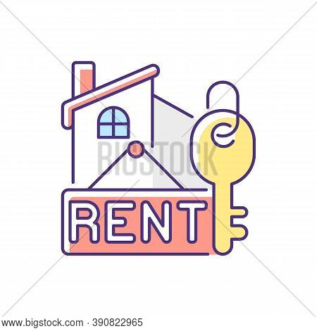 Rental Rgb Color Icon. Residential House For Rent. Credit For Home. Investment In Apartment. Sell Re