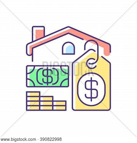 Price Rgb Color Icon. House Mortgage. Buying Home. Residential Property For Sale. Investment In Real