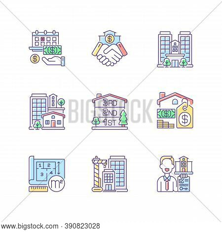 Realty Rgb Color Icons Set. Property Types. Business Deal. House Mortgage. Home For Sale. Multistore