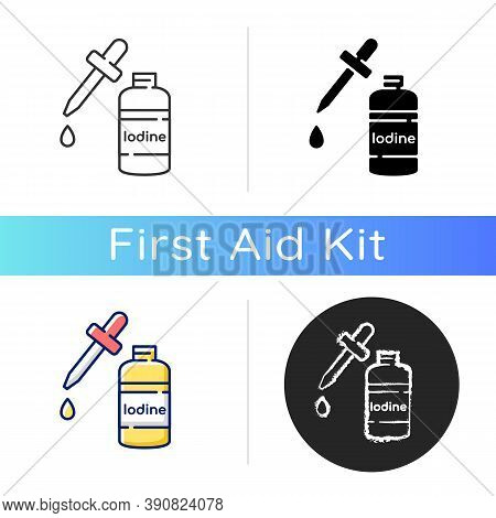 Iodine Icon. Fluid Cleanser In Bottle. Treatment For Wound. First Aid Supplement. Emergency Help. Sa