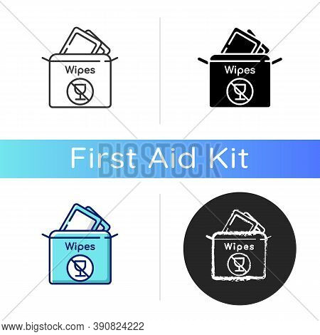 Alcohol Free Wipes Icon. Disinfectant Paper Towels. Sanitation Tissues For Hygiene. Cosmetic Product