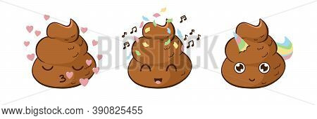 Funny Poop Emoji Party, In Love And Unicorn Vector Set. Cute Poo Stickers For Party.