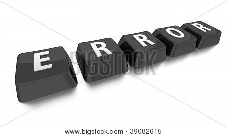 Error Written In White On Black Computer Keys. 3D Illustration. Isolated Background.