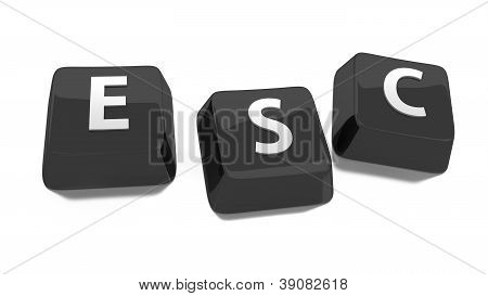 Esc Written In White On Black Computer Keys. 3D Illustration. Isolated Background.