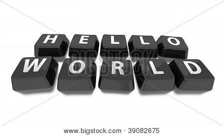Hello World Written In White On Black Computer Keys. 3D Illustration. Isolated Background.