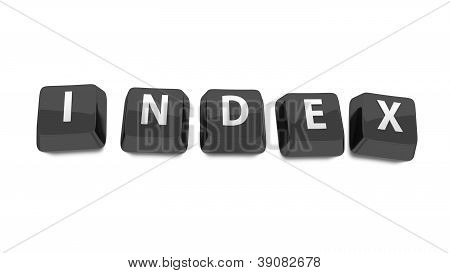Index Written In White On Black Computer Keys. 3D Illustration. Isolated Background.