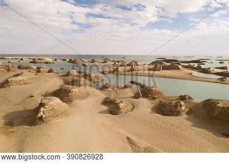 Wind Erosion Terrain Landscape, Yardang Landform.