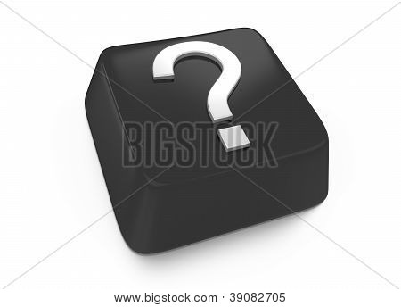 Question Mark In White On Black Computer Key. 3D Illustration. Isolated Background.