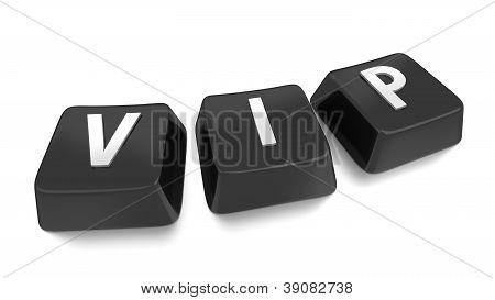 Vip Written In White On Black Computer Keys. 3D Illustration. Isolated Background.
