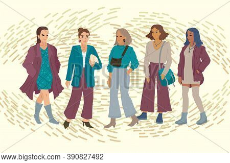 Different Women, Female Employees, Business Girls, Banner With Young Women. Vector Illustration, Hor