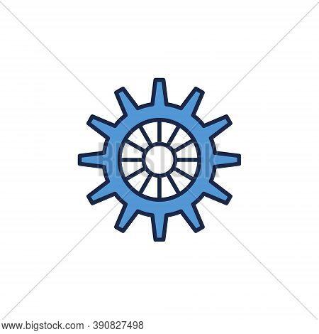 Blue Gear Or Cog Wheel Concept Icon Or Symbol