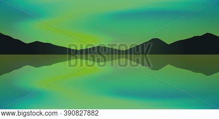 Aurora Borealis Beautiful Polar Lights By The Lake Vector Illustration Eps10