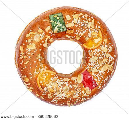 Christmas Fruit Cake  Isolated On White Background. Epiphany Cake Roscon De Reyes Top View