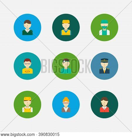 Profession Icons Set. White Worker And Profession Icons With Male Worker, Female Worker And Dentist.
