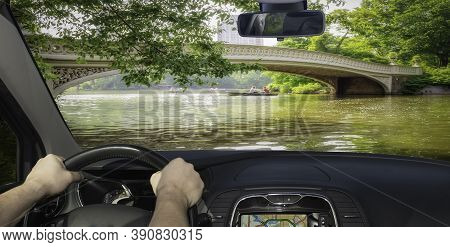 Driving A Car In The Scenic Central Park, Manhattan, New York, Usa