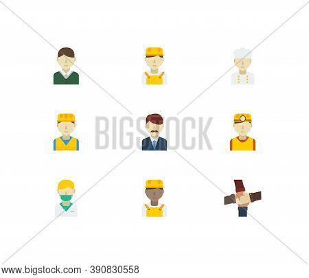 Occupation Icons Set. White Worker And Occupation Icons With Nurse, Male Worker And Teamwork. Set Of