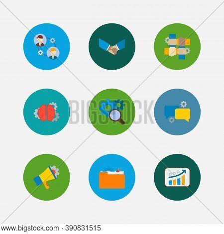 Technology Partnership Icons Set. Handshake And Technology Partnership Icons With Collaboration, Res