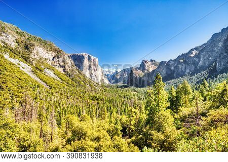 Yosemite Valley View From The Tunnel Entrance To The Valley During A Sunny Day, Yosemite National Pa