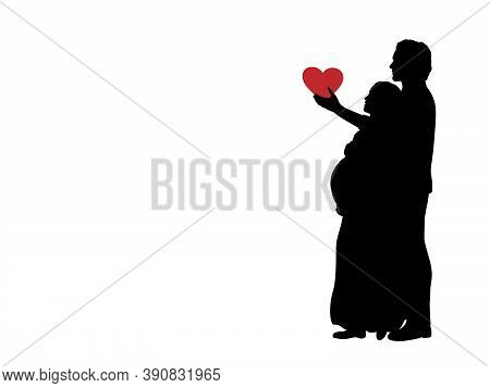 Silhouette Loving Husband Gives Heart Beloved Pregnant Wife. Illustration Graphics Icon
