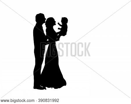 Silhouettes Happy Father And Mother Holding Newborn Baby In The Air. Illustration Graphics Icon Vect