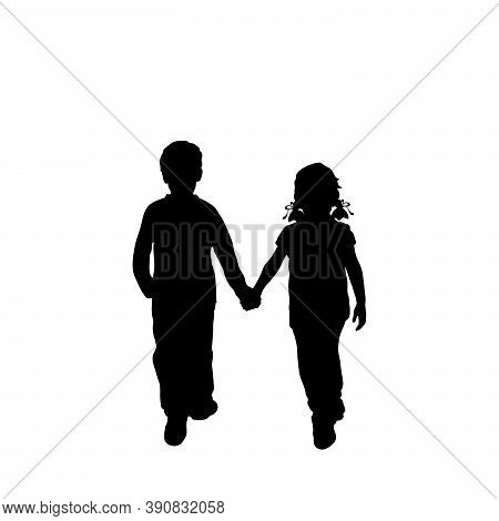 Silhouettes Of Walking Boy And Girl From Back. Illustration Graphics Icon Vector