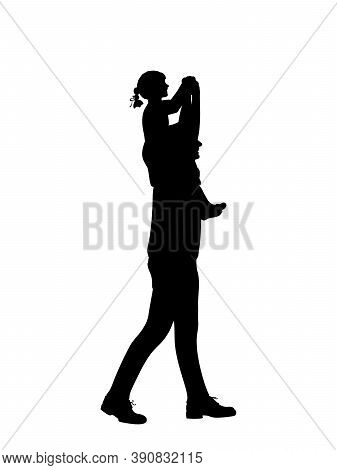 Silhouette Of Father Carrying Daughte On Shoulders. Illustration Graphics Icon Vector