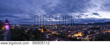 City Lights Of Graz And The Famous Clock Tower On Schlossberg Hill, Graz, Styria Region, Austria, Af