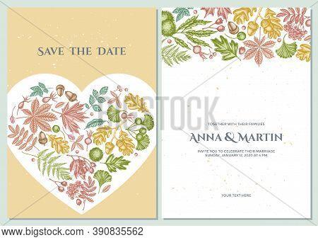 Wedding Invitation Card With Pastel Fern, Dog Rose, Rowan, Ginkgo, Maple, Oak, Horse Chestnut, Chest