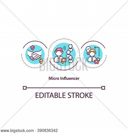 Micro Influencer Concept Icon. Online Store. Social Blogger Advertising Different Products. Influenc