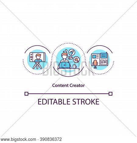 Content Creator Concept Icon. Advertisement Creation. Blogger Promotion. Influencer Marketing Idea T