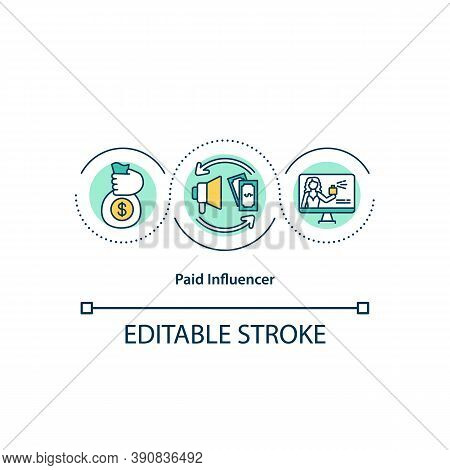 Paid Influencer Concept Icon. Social Media Advertisment For Money. Finding New Customers. Blogging E
