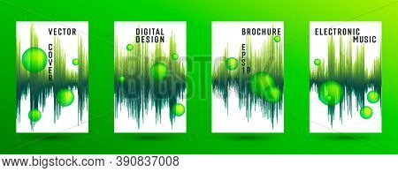 Music Banners Set With Sound Wave Background.  Abstract Pulse Amplitude.  Distorted Sound Wave Equal