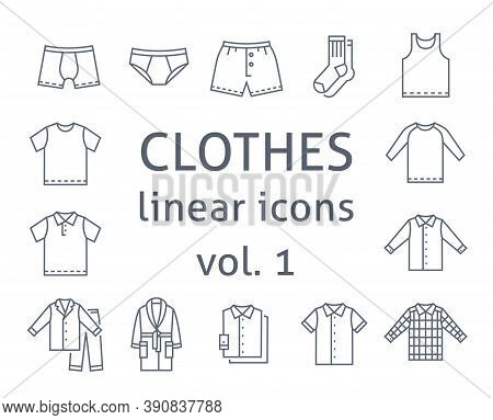 Men Clothes Flat Line Vector Icons. Simple Linear Symbols Of Male Basic Garments. Main Categories Fo
