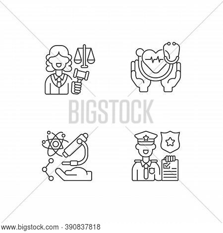 Critical Services Linear Icons Set. Justice Sector. Health Care. Human Services. Research. Judiciary