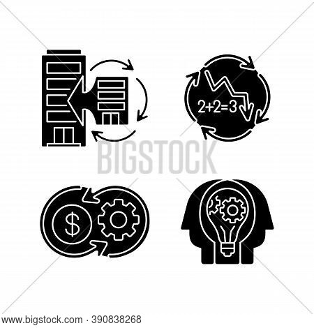 Business Synergy Black Glyph Icons Set On White Space. Corporate Expansion. Company Merge. Decline I