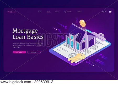 Mortgage Loan Basics Banner. Concept Of Purchase House With Bank Credit, Invest In Real Estate. Vect