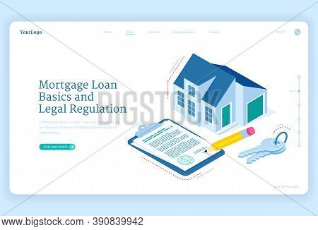 Mortgage Loan Regulation Isometric Landing Page. Cottage House With Key And Contract Document For Si