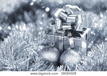 silver christmas card close up