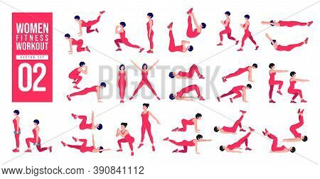 Women Workout Set. Women Exercise Vector Set. Women Doing Fitness And Yoga Exercises. Lunges, Pushup